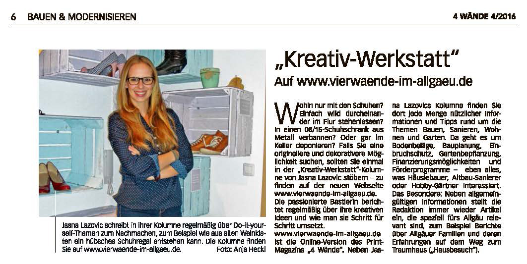 Jasna`s Kreativ-Werkstatt im Wochenblatt extra der Allgaeuer Zeitung