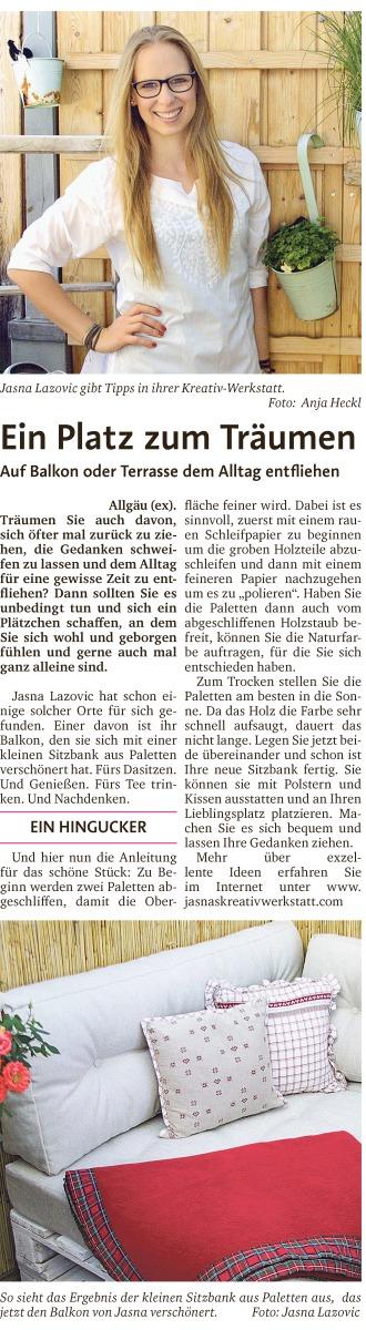 Jasna´s Kreativ-Werkstatt im Wochenblatt extra der Allgaeuer Zeitung