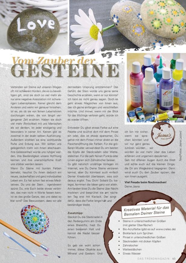 """Jasna`s Kreativ-Werkstatt - Life &Jasna`s Kreativ-Werkstatt im """"Life & Style"""" das Trendmagazin im Oberallgäu: Steine mit Acrylfarbe bemalen Style das Trendmagazin im Oberallgäu"""