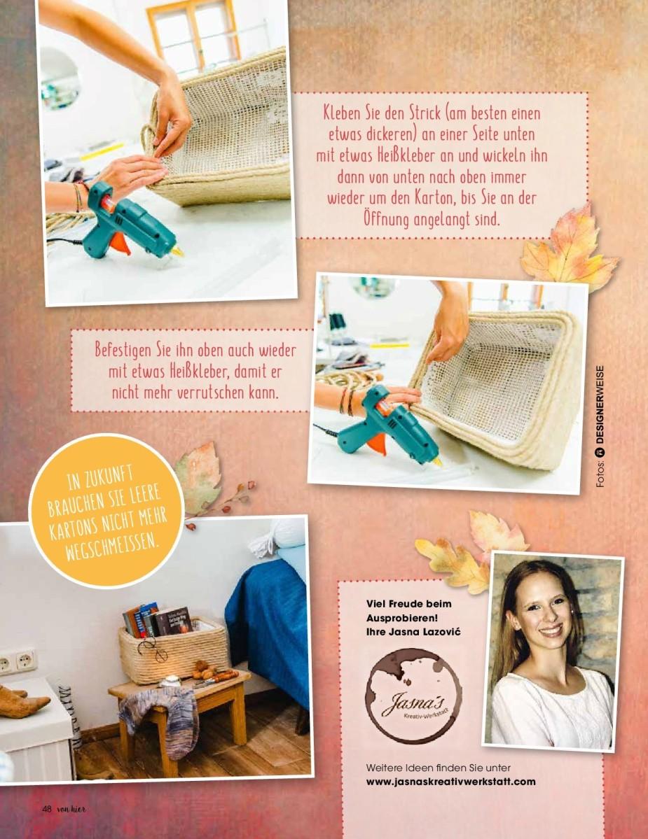 """Jasna`s Kreativ-Werkstatt im """"von hier"""" Magazin von Feneberg: Karton mit Strick"""