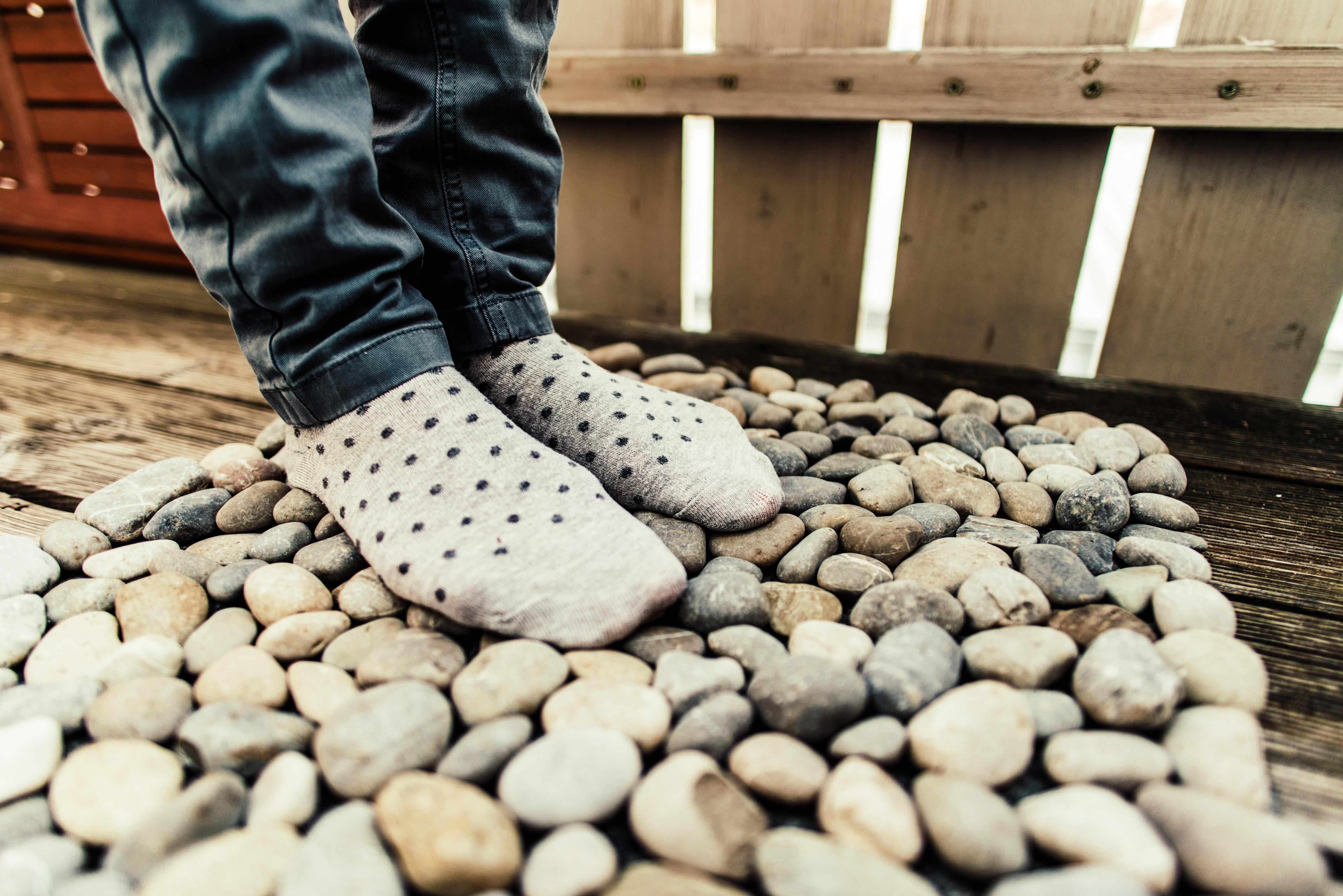 Fußmatte aus Steinen