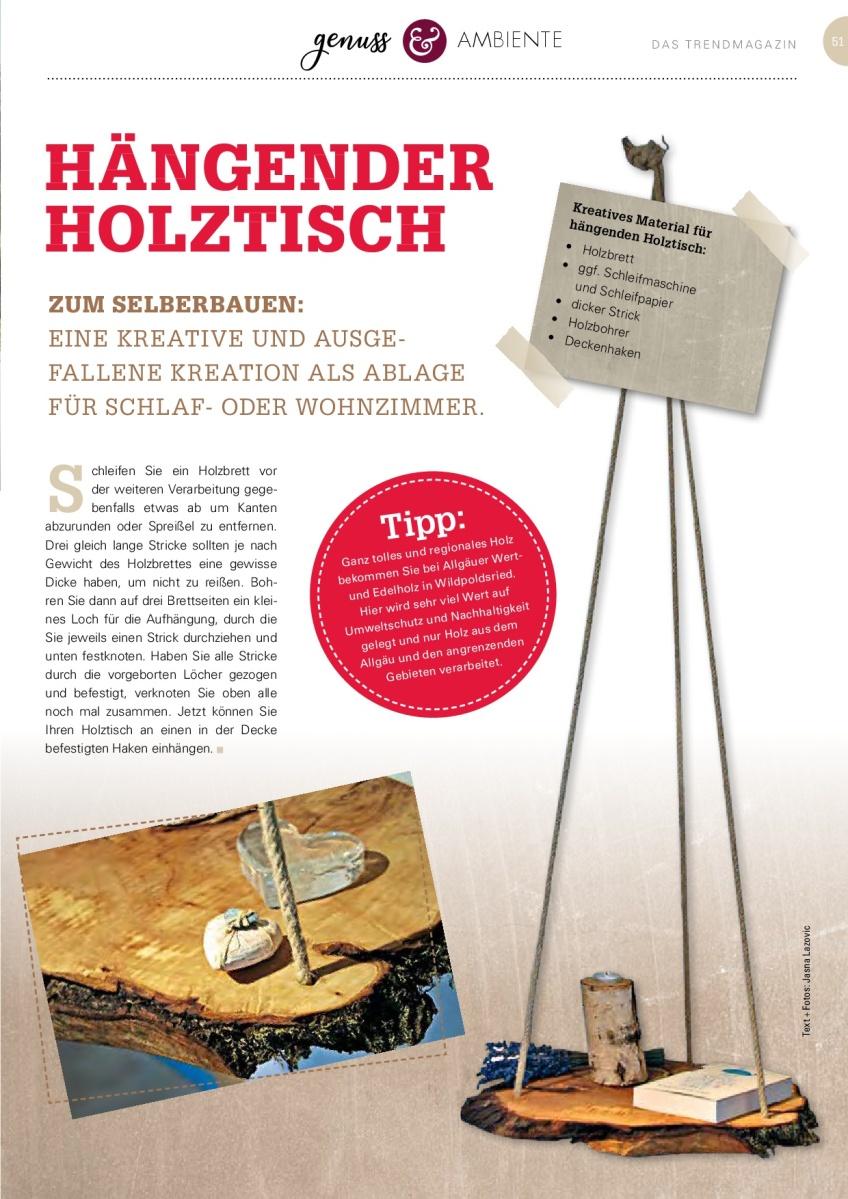 Jasna`s Kreativ-Werkstatt im life&style Magazin vom Allgäuer Anzeigeblatt: Hängender Holztisch Foto: designerweise