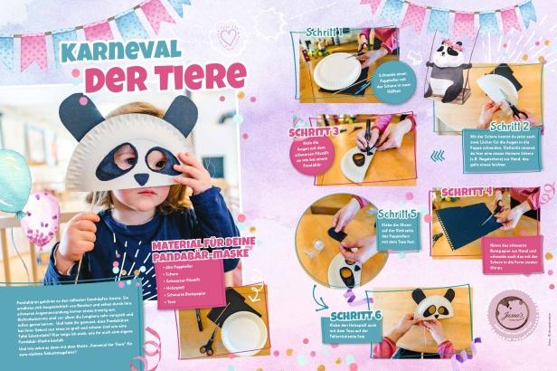 """Jasna`s Kreativwerkstatt in der Kinderbeilage """"Allgäu-Kids"""" der Allgäuer Zeitung: Pandamaske basteln Foto: designerweise"""
