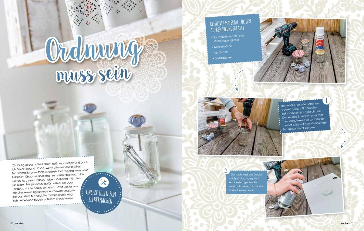 """Jasna`s Kreativwerkstatt im Feneberg-Magazin """"von hier"""" der Allgäuer Zeitung: Deko aus Marmeladengläser Foto: designerweise"""